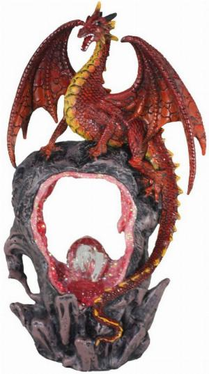 Photo of Portal of Flame Dragon Figurine Light Feature 27cm