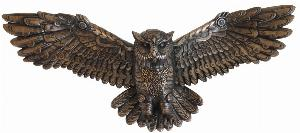 Photo of Steampunk Owl in Flight Bronze Wall Plaque Large 55 cm