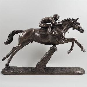 Photo of The Hurdler Cold Cast Bronze Horse and Jockey Horse Racing Sculpture by Harriet Glen