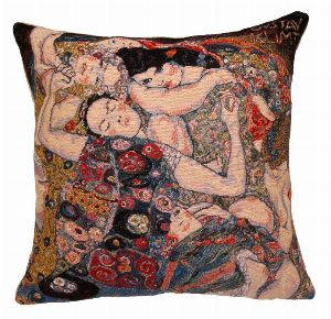 Phot of The Virgin By Gustav Klimt Tapestry Cushion