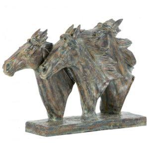 Photo of Three Horse Heads Bronze Sculpture 47 cm