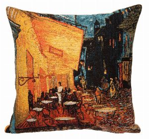 Phot of Van Gogh Café Terrace At Night Tapestry Cushion