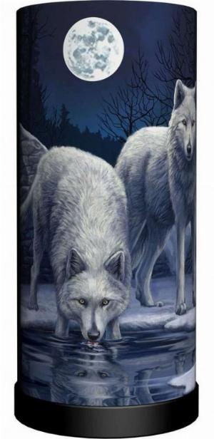 Photo of Warriors of Winter Wolf Cylindrical Table Lamp (Lisa Parker) 28 cm