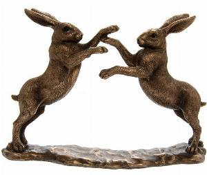 Photo of Boxing Hares Bronzed Figurine Leonardo Collection Small