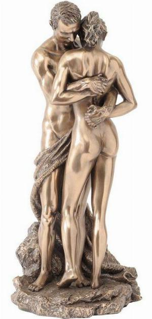 Photo of Bronze Couple Holding Hands Figurine 28cm