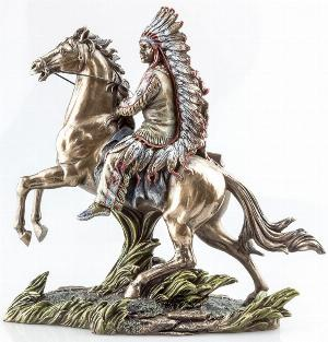Photo of Buffalo Hunter Native American on Horse Bronze Figurine
