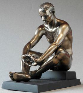 Photo of Contemplation Nude Male Seated Bronze Figurine