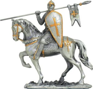 Photo of Crusader on Horse with Flag and Shield Pewter Figurine