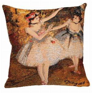 Phot of Edgar Degas 2 Dancers On The Stage Tapestry Cushion