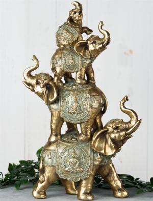 Photo of Elephant Tower Figurine (Juliana) Verdigris Bronze 38 cm Large