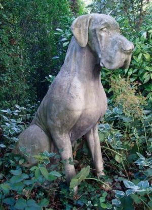 Phot of Great Dane Dog Stone Sculpture Male