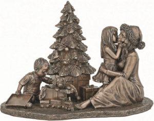 Photo of Happy Christmas Morning Bronze Figurine 25cm