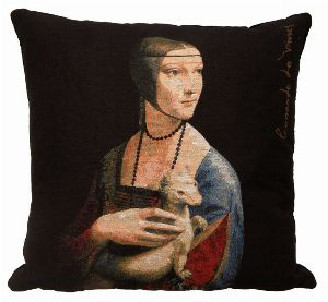 Phot of Lady With An Ermine By Leonardo Da Vinci Tapestry Cushion