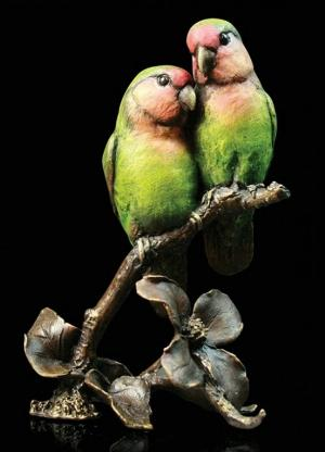 Photo of Lovebirds Bronze Figurine with Wooden Presentation Box (Limited Edition) Keith Sherwin