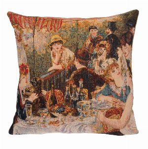Phot of Luncheon Of The Boating Party By Pierre-Auguste Renoir Tapestry Cushion