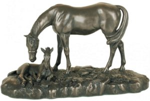 Photo of Mare and Foal Small Bronze Figurine (David Geenty) 20 cm