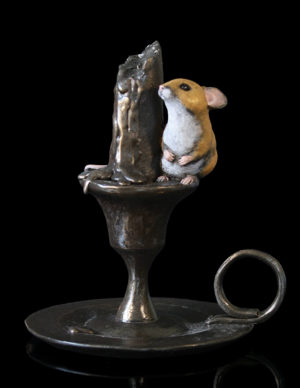 Photo of Mouse on Candlestick Bronze Figurine Michael Simpson