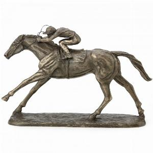 Photo of On The Flat Horse Racing Cold Cast Bronze Sculpture by Harriet Glen