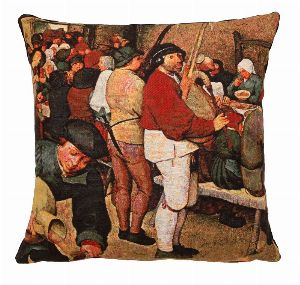 Phot of Peasants Wedding Meal By Pieter Bruegel Tapestry Cushion 1