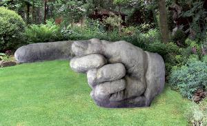 Photo of Pointing Hand Stone Sculpture