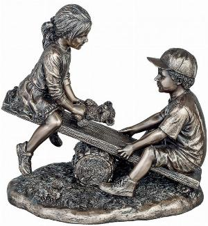 Photo of See Saw Bronze Boy and Girl Figurine