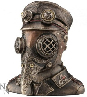 Photo of Steampunk Plague Doctor Bronze Figurine Secret Box 15.5cm