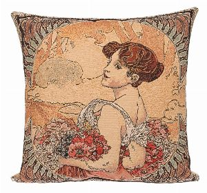 Phot of Summer By Mucha Tapestry Cushion