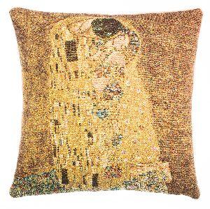 Phot of The Kiss By Gustav Klimt Tapestry Cushion Ii