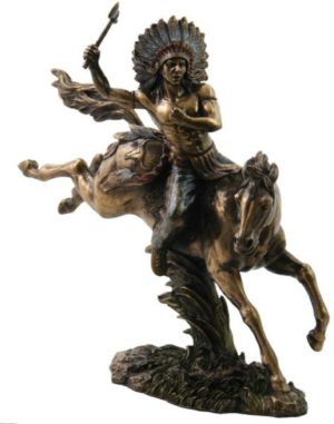 Photo of Tomahawk Warrior on Horseback Bronze Figurine 31cm