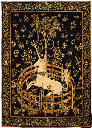 Phot of Unicorn In Captivity Medieval Wall Tapestry