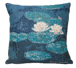 Phot of Water Lilies Evening Effect Tapestry Cushion By Monet