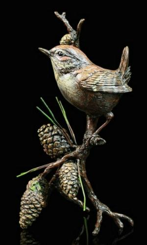 Photo of Wren with Pinecones Bronze Figurine with Wooden Presentation Box (Limited Edition) Keith Sherwin