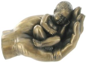 Photo of Baby in Hand Bronze Figurine