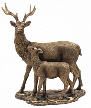 Photo of Bronzed Stag and Fawn Figurine (Leonardo Collection) 33 cm Large