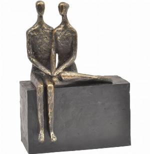Photo of Couple on Block Antique Bronze Sculpture