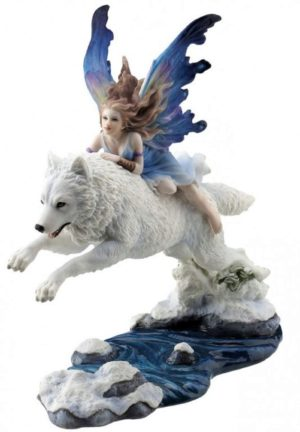 Photo of Free Spirit Fairy Wolf Rider Statue 23.5cm