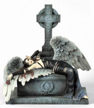 Photo of Gothic Angel Holding Rose Figurine