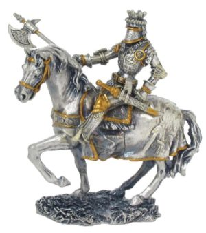 Photo of Knight on Horse with Axe Pewter Figurine