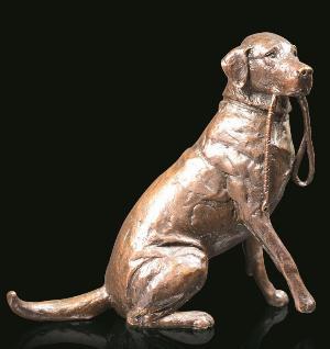 Photo of Medium Labrador with Lead Sitting Bronze Figurine (Limited Edition) Michael Simpson