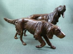Photo of Pair of Setters Bronze Figurines