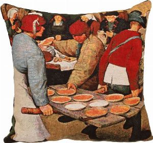 Phot of Peasants Wedding Meal By Pieter Bruegel Tapestry Cushion 2