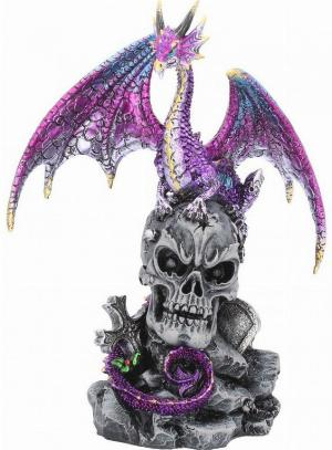 Photo of Purple Dragon on Skull Figurine Alator 23cm