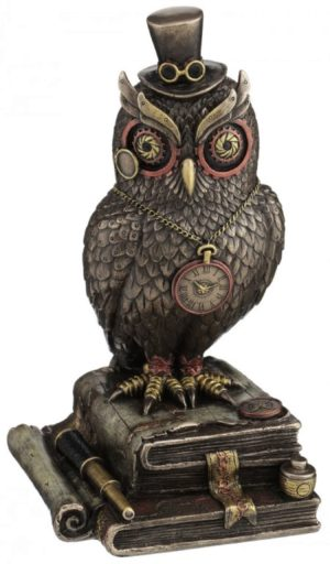 Photo of Steampunk Wise Owl Bronze Figurine