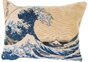 Phot of The Great Wave Off Kanagawa By Hokusai Tapestry Cushion
