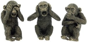 Photo of Three Wise Monkeys Bronze Figurines (Set of 3)