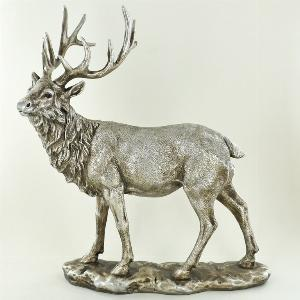 Photo of Antique Silver Stag Gazing Figurine