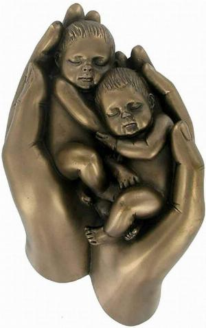 Photo of Babies in Hand Twins Bronze Figurine