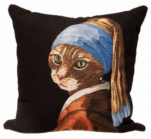 Phot of Cat With A Pearl Earring Tapestry Cushion
