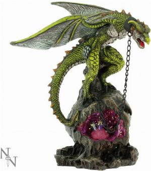 Photo of Chained Green Dragon Figurine with Crystal Light Feature 22cm