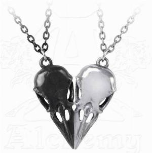 Photo of Coeur Crane - Couples Friendship Raven Skull Necklace